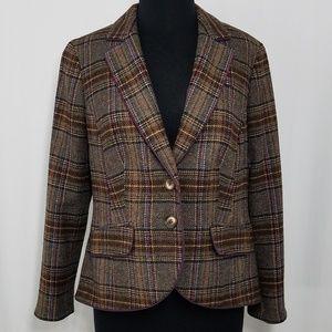 Boden Blazer British Tweed Moon 12 Plaid Wool